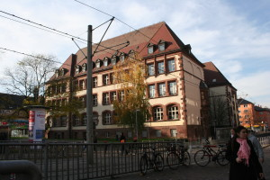 A high school near the hotel in Freiburg, Germany